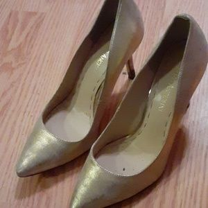 brushed matte gold heels